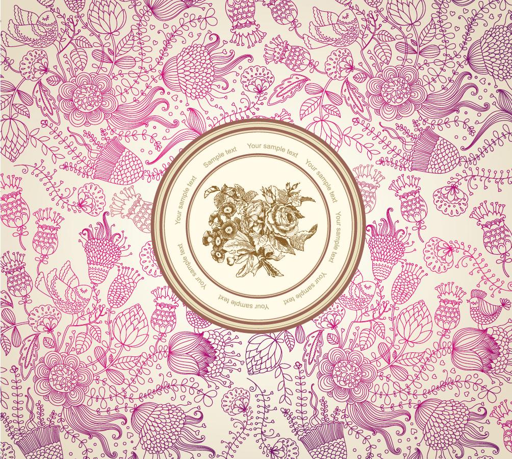シームレスな花柄で囲んだ背景 Classic Floral Background イラスト素材