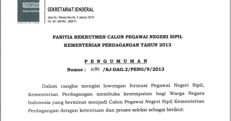 Basando Rekrutmen Cpns Calon Pegawai Negeri Sipil Kementerian Perdagangan 2013