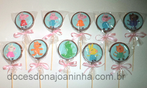 Pirulitos de Chocolate Peppa Pig e Amigos