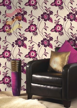 wnętrze tapeta fioletowe kwiaty