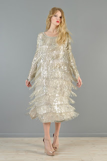 Vintage 1970's metallic swingy beaded fringe flapper dress with long sleeves