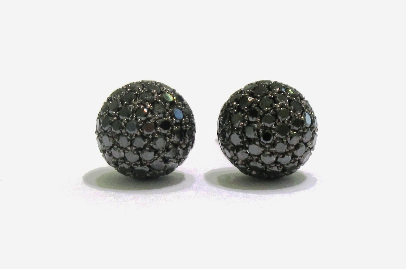 Black Pave Diamond Ball Earrings