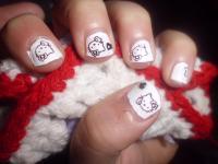 manicura blanca hello kitty