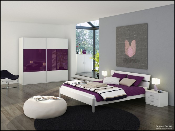 Purple bedroom decor ideas with grey wall and white accent for Violet bedroom designs