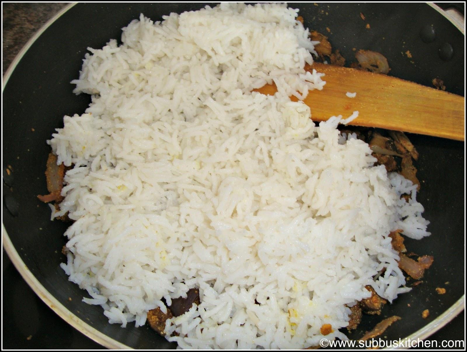 Brinjal Rice(Vaangi Baath) - Subbus Kitchen