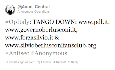 Anonymous und LulzSec hacken Berlusconi-Seiten