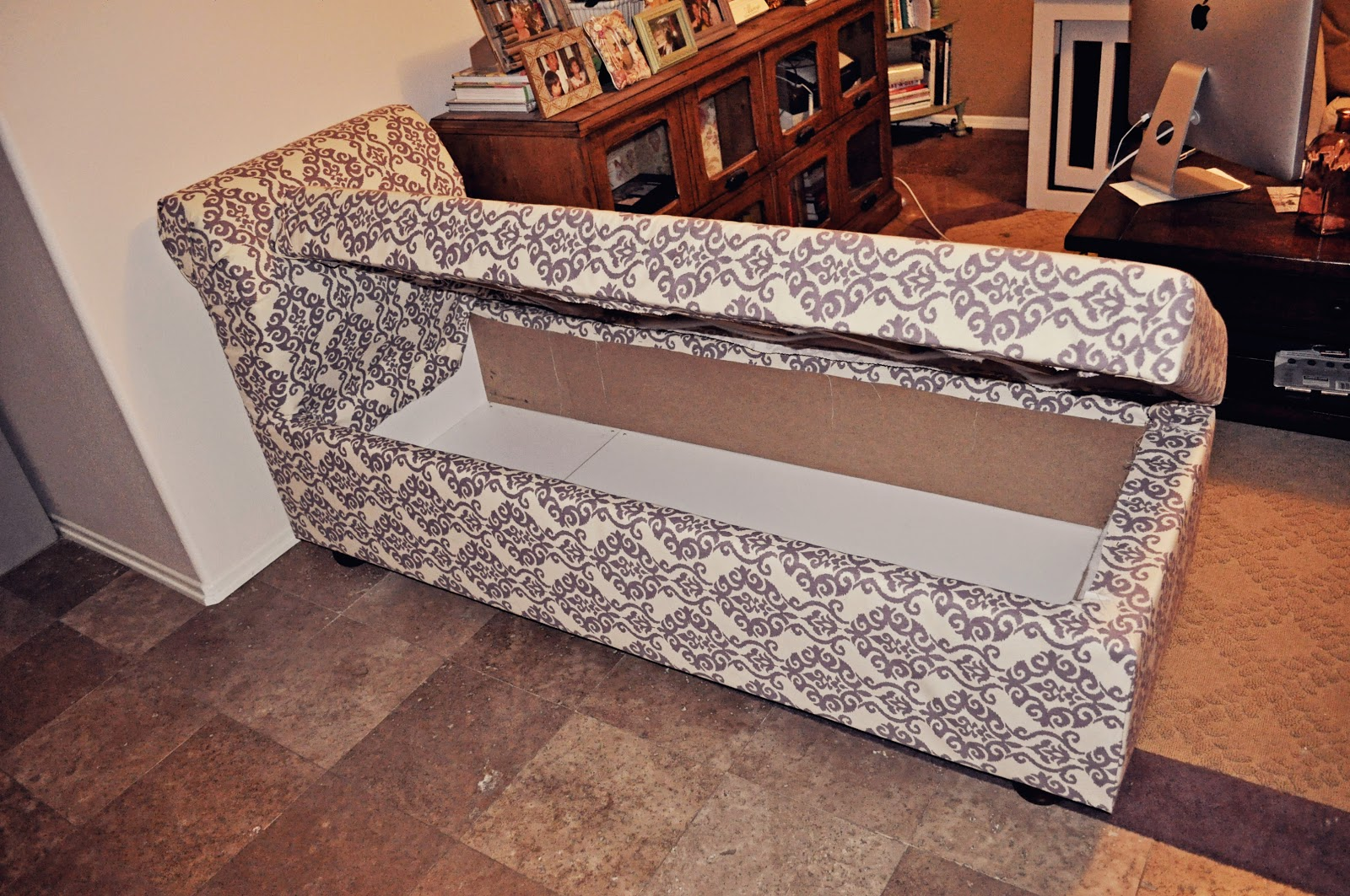Diy storage chaise lounge a boy a girl and 2 mini for Build chaise lounge