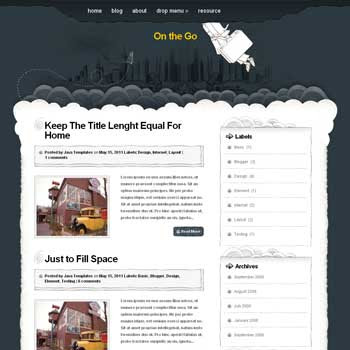 On The Go blog template. magazine blogger template style. wordpress them to blogger template