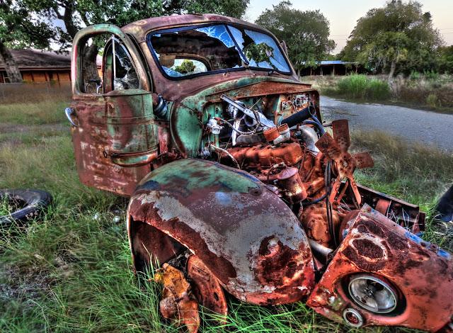 Rusty Abandoned tore down 1940's truck - Cedar Park, Texas