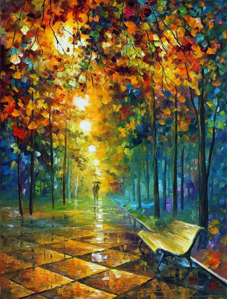 autumn fall painting wallpaper leonid afremov misty park