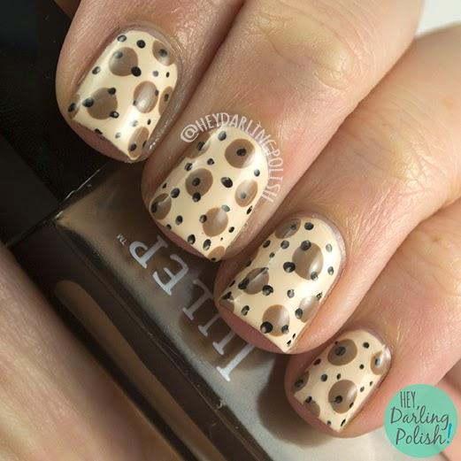 nails, nail art, nail polish, polka dots, dots, vintage, retro, hey darling polish, oh mon dieu part deux