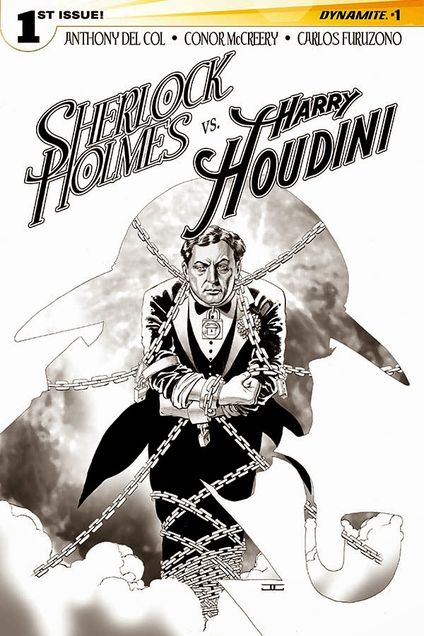 Sherlock Holmes vs. Harry Houdin cover 1 B&W - Cassaday - Dynamite Comics