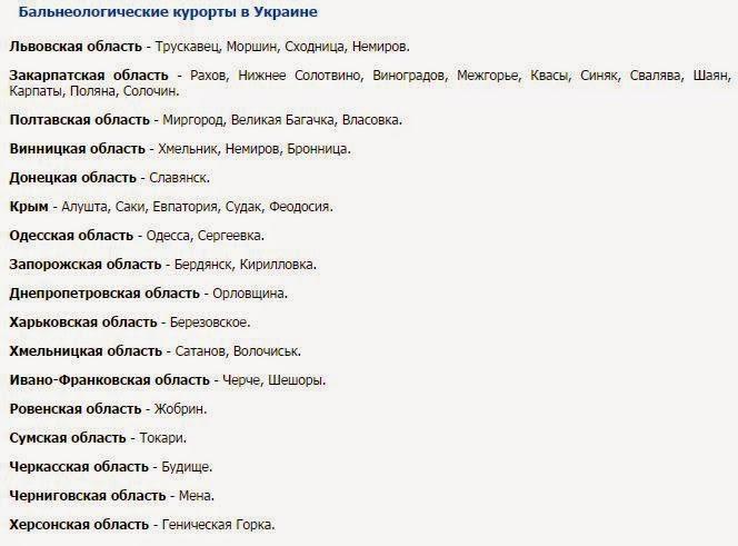 бальнеологические курорты в Украине