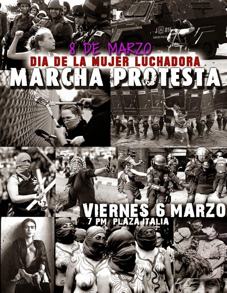 SANTIAGO CENTRO, PLAZA ITALIA : DÍA DE LA MUJER LUCHADORA, MARCHA PROTESTA