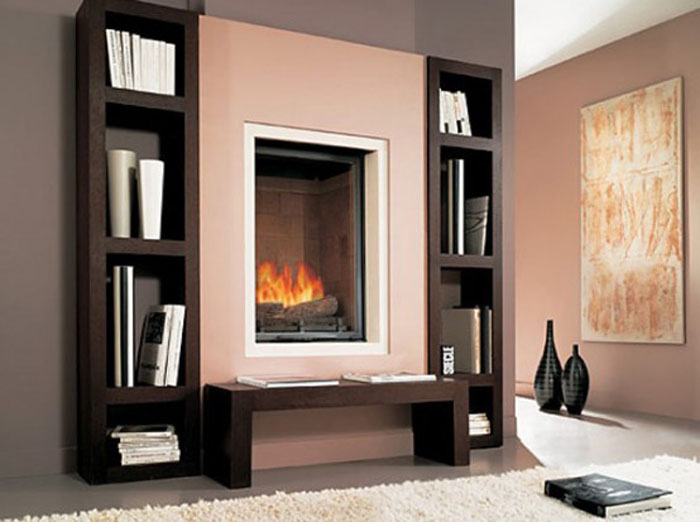 Modern Fireplace with Built in Shelves
