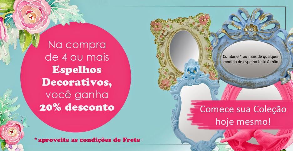 Espelhos artesanais Boutique de Achados promoção