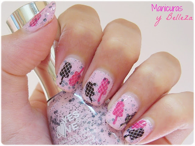 Esmalte jelly sandwich Speckled rosa Yes Love pink Nail art helados de fresa Manicura summernails estampación Pueen