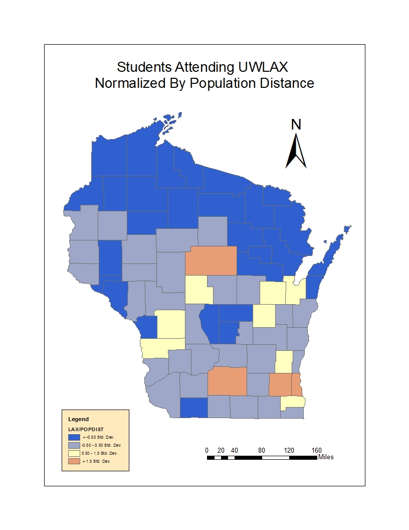 most of the students come from higher populated counties like milwaukee dane marathon and waukesha there is a correlation between distance to the