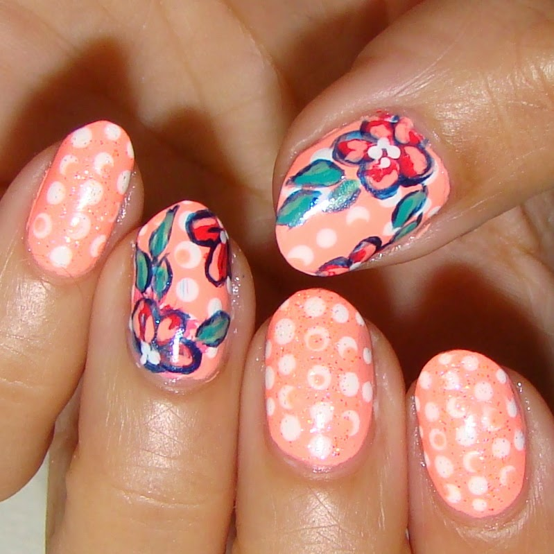 Bright Neon Peach Doticure and Flowers