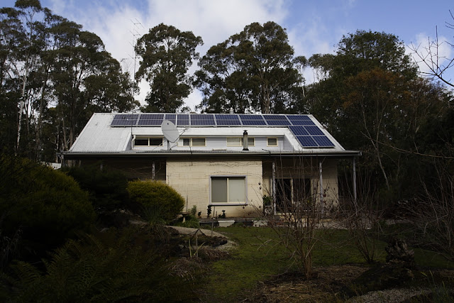 winter light on solar panels greendale victoria.