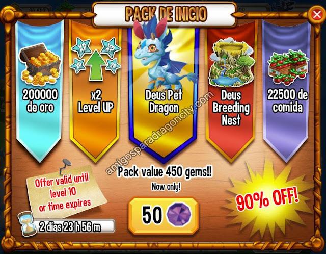 imagen del nuevo paquete de inicio de dragon city