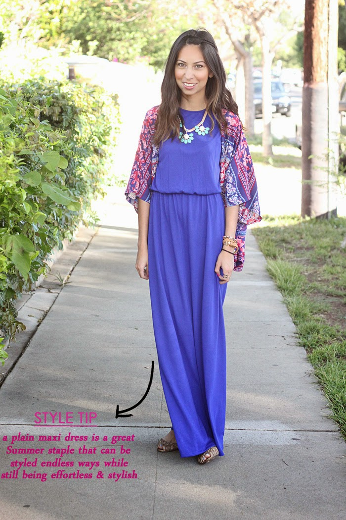 style a maxi dress with a kimono