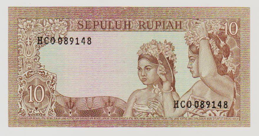 uang kuno Seri Soekarno tahun  1960 Pecahan 10 rupiah