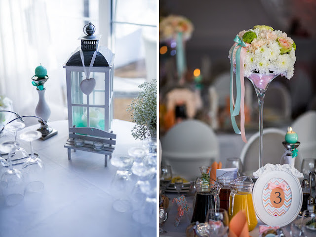 Miętowo brzoskwiniowe dekoracje ślubne.
