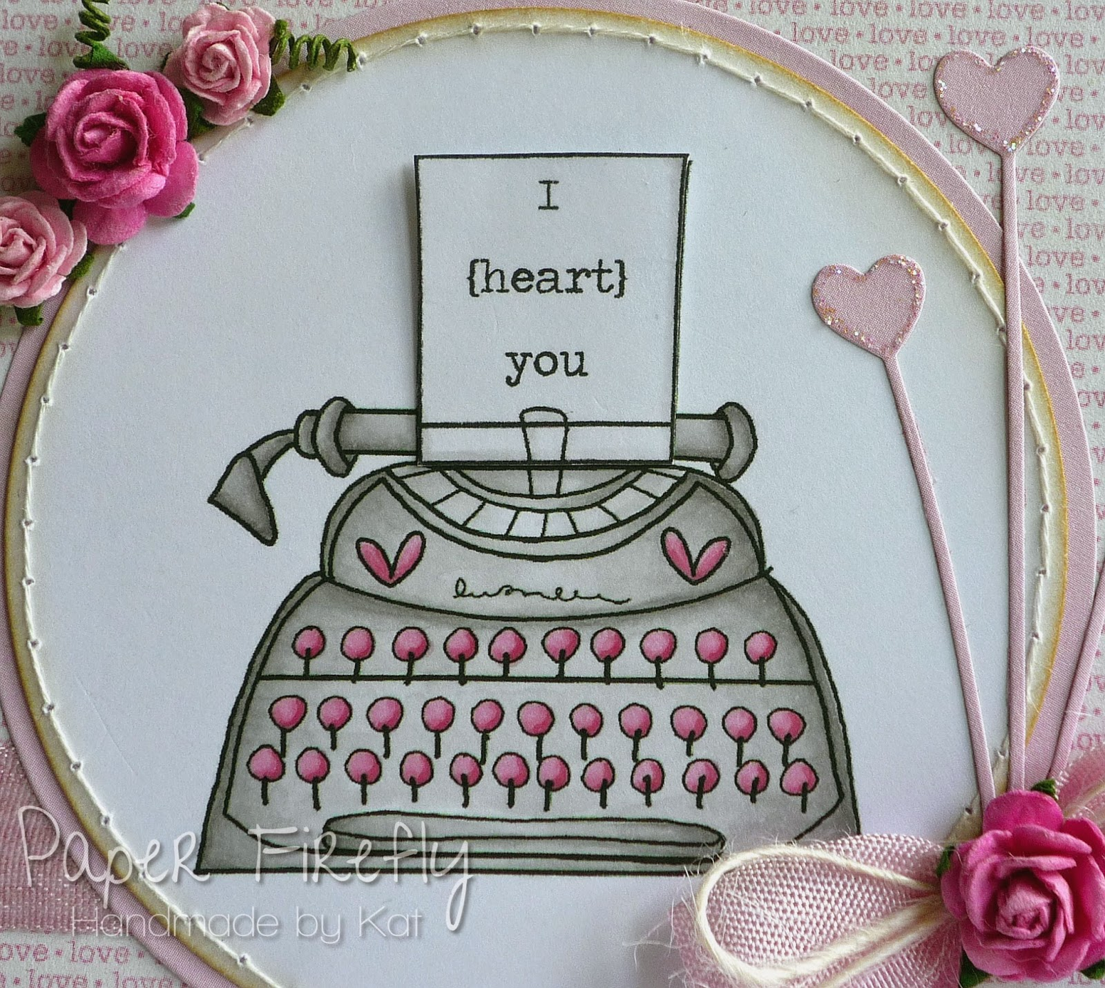 Pink typewriter love card