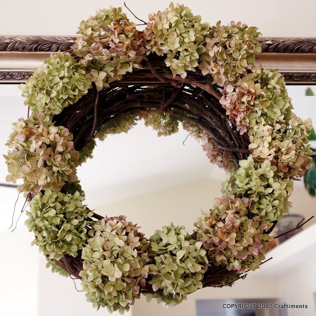 Craftiments:  Hydrangea grapevine wreath