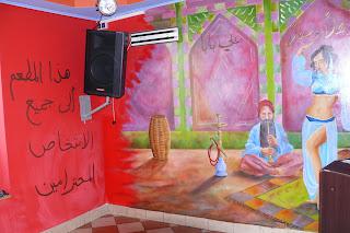 Artystyczne malowanie ścian w kebabowni, mural ścienny w barze z kebabami