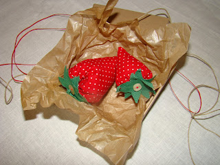 handmade strawberries favors