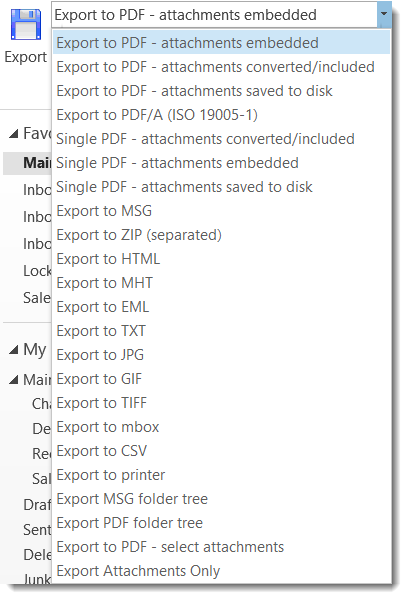 Screen image of the MessageExport PDF export settings in Outlook.