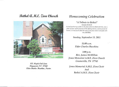 ... Current Events: Bethel AME Church Homecoming Announcement in Kingsport