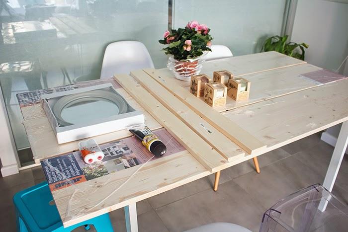 Boho deco chic diy mesa de comedor de tableros de madera - Vigas de madera baratas ...