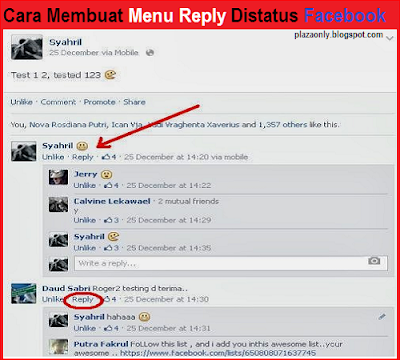 Cara Membuat Menu Reply Distatus Facebook