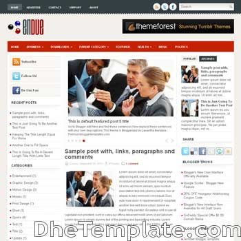 Endue blog template. magazine blogger template style. magazine style template blogspot. 3 column blogspot template