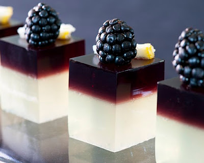 The fanciest jello shots you will ever find, blackberry flavored.