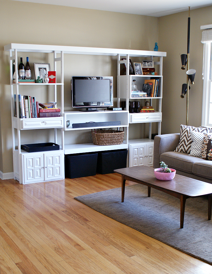 Fifty two weekends of diy entertainment wall before and for B q living room shelves