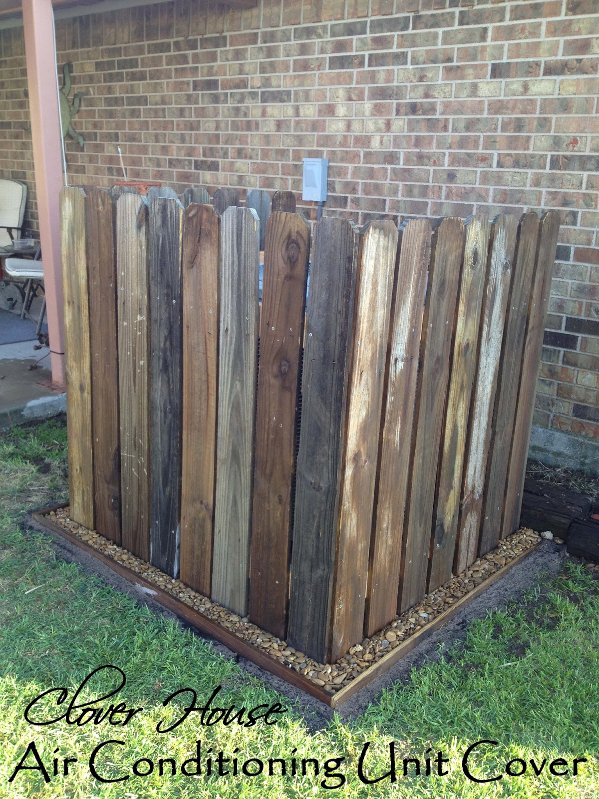 Clover house fence picket a c unit cover - Air conditioner cover ideas ...