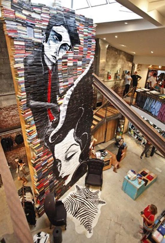 Mike Stilkey - Beautiful Artwork on Spines of Stacked Books Seen On www.coolpicturegallery.us