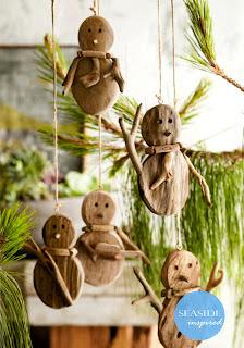 and only a beach christmas will do get your first look at our driftwood christmas collection driftwood snowman christmas ornament - Beach Style Christmas Decorations