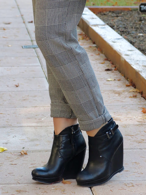 slouchy plaid pants and wedge booties