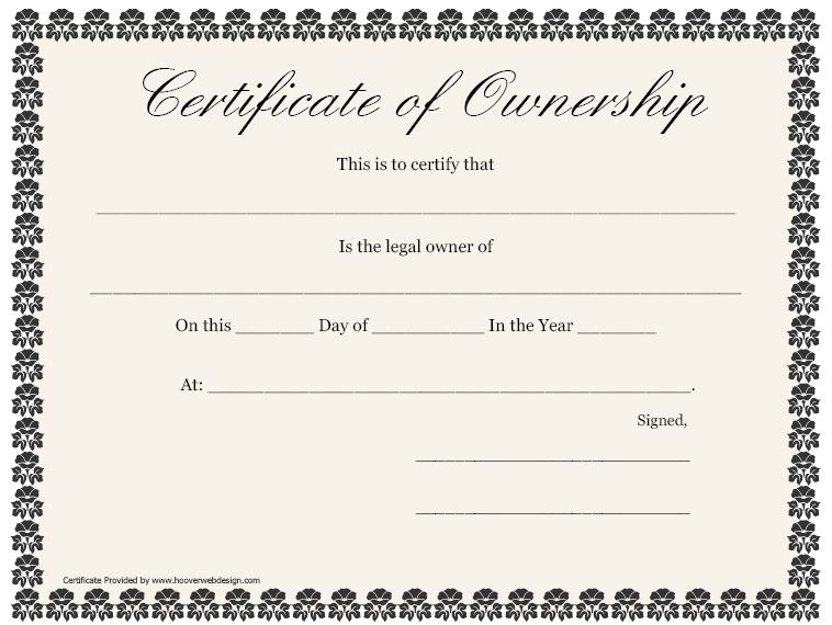 blank ownership certificate template
