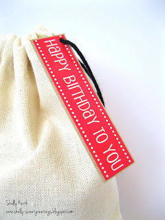 SRM Stickers Blog - Masculine Muslin Bag by Shelly - #birthday #fabric #bag #muslin #twine #stickers