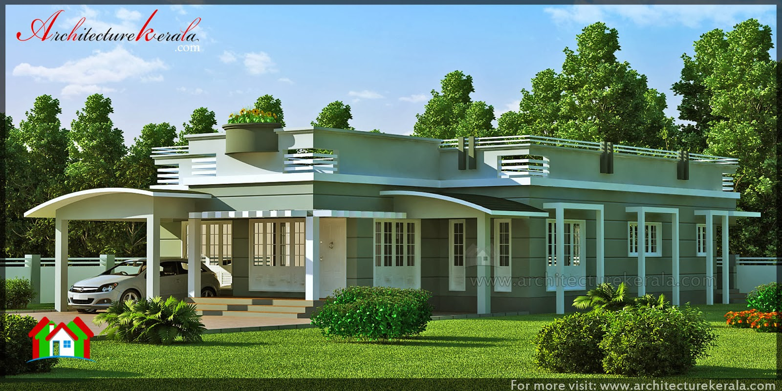 Contemporary Elevation Single Floor : Bedroom single storey house architecture kerala