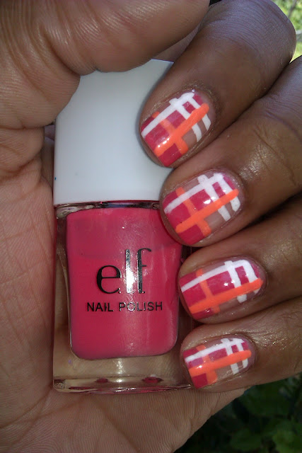 Pink, peach, coral, white, plaid, nail art, design, mani