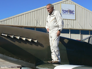 Supermarine Spitfire Mk XIX F-AZJS with the pilot Christophe Jacquard