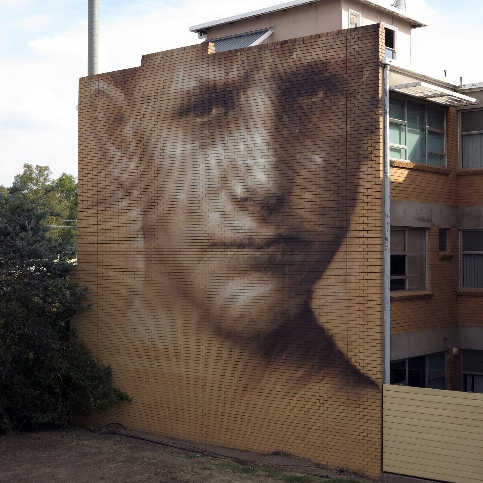 Along with Adnate and Rone, Guido Van Helten was also participating in the Wall To Wall Street Art Festival on the streets of Benalla in Australia. The festival is curated by Judy Roller.
