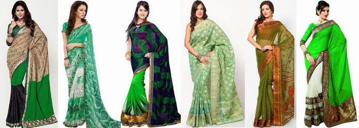women green sarees